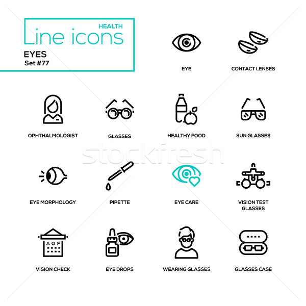 Eyes - line design icons set Stock photo © Decorwithme