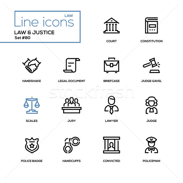 Law and justice - line design icons set Stock photo © Decorwithme