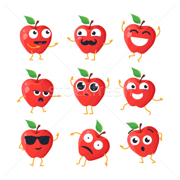Funny apples - vector isolated cartoon emoticons Stock photo © Decorwithme