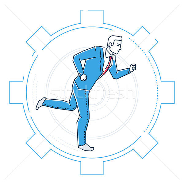 Businessman running in a gear - line design style illustration Stock photo © Decorwithme