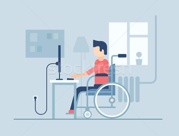 инвалидов человека рабочих домой дизайна стиль Сток-фото © Decorwithme