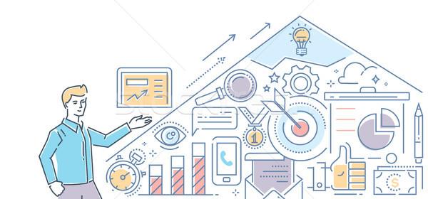 SEO optimization - modern line design style illustration Stock photo © Decorwithme