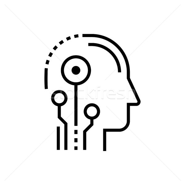Artificial intelligence head - line design single isolated icon Stock photo © Decorwithme