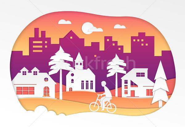 Urban landscape - modern vector paper cut illustration Stock photo © Decorwithme