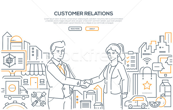 Customer relations - line design style illustration Stock photo © Decorwithme