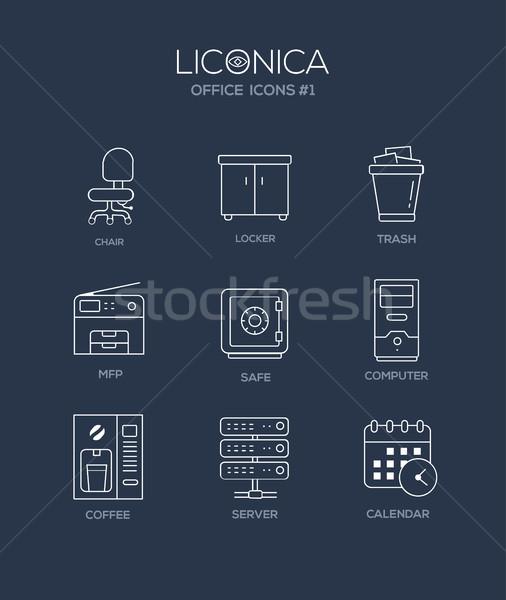 Szett modern iroda vonal terv ikonok Stock fotó © Decorwithme