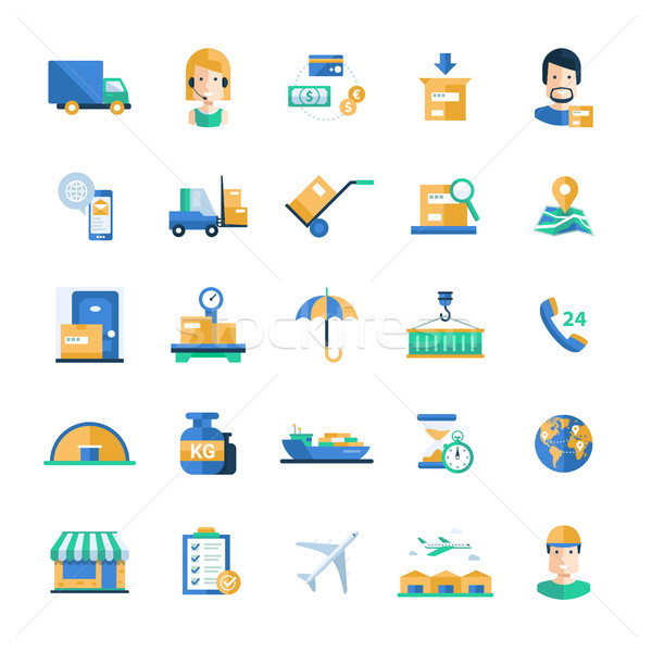 Delivery service modern flat design icons and pictograms Stock photo © Decorwithme