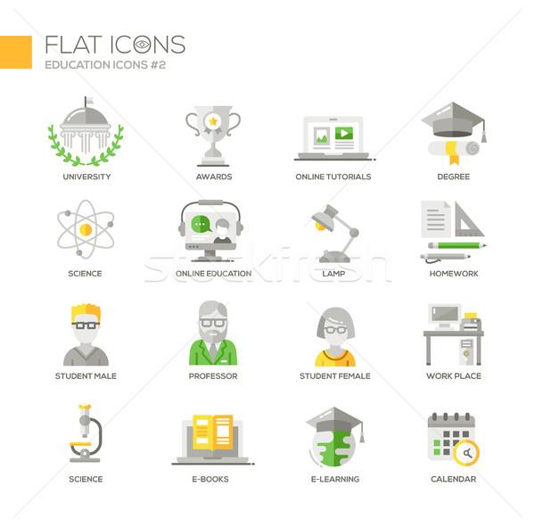 Moderne school onderwijs dun lijn ontwerp Stockfoto © Decorwithme