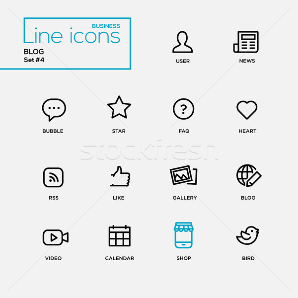 Single Line Blogging Pictograms Set Stock photo © Decorwithme