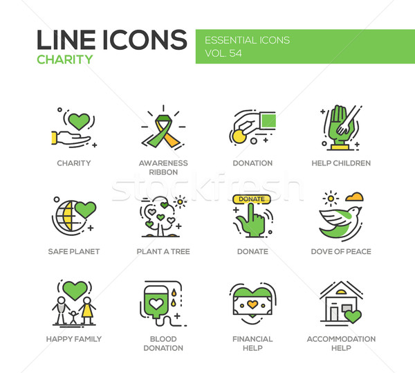 Charity - line design icons set Stock photo © Decorwithme