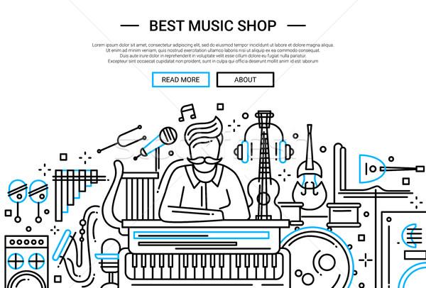 Best Music Shop - website header banner template Stock photo © Decorwithme
