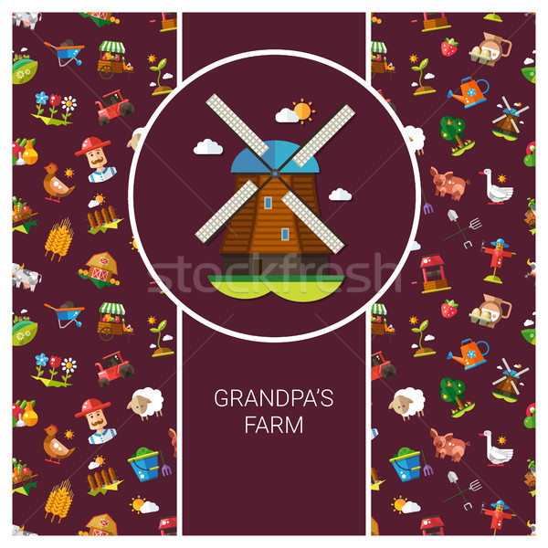 Postcard template of modern flat design  farm and agriculture ic Stock photo © Decorwithme