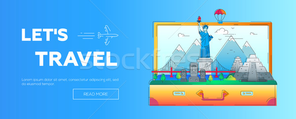 Lets Travel - vector line travel web page header illustration Stock photo © Decorwithme