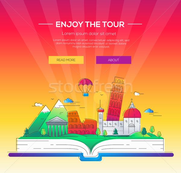 élvezi turné vektor vonal utazás illusztráció Stock fotó © Decorwithme