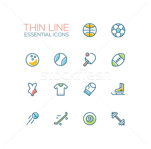 Kinds of Sport - line icons set Stock photo © Decorwithme