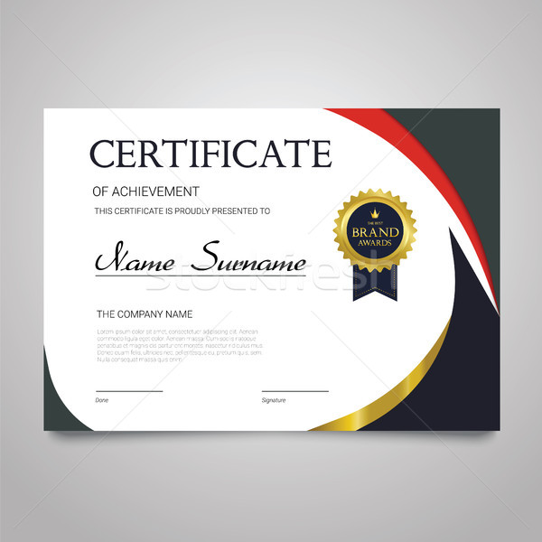 Certificaat sjabloon horizontaal elegante vector document Stockfoto © Decorwithme