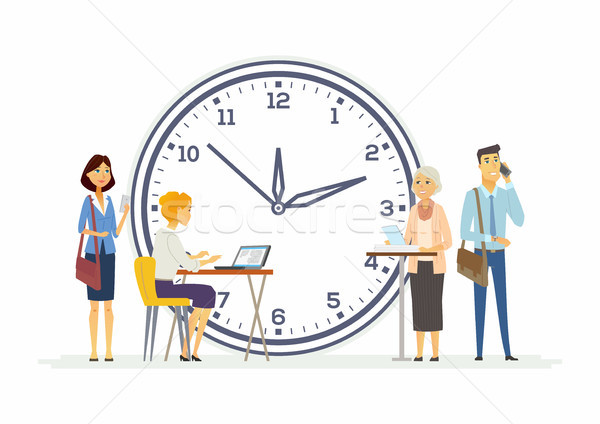 Time management for business - modern cartoon people characters illustration Stock photo © Decorwithme