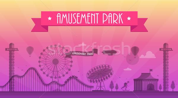 Pretpark moderne landschap silhouet tekst Stockfoto © Decorwithme