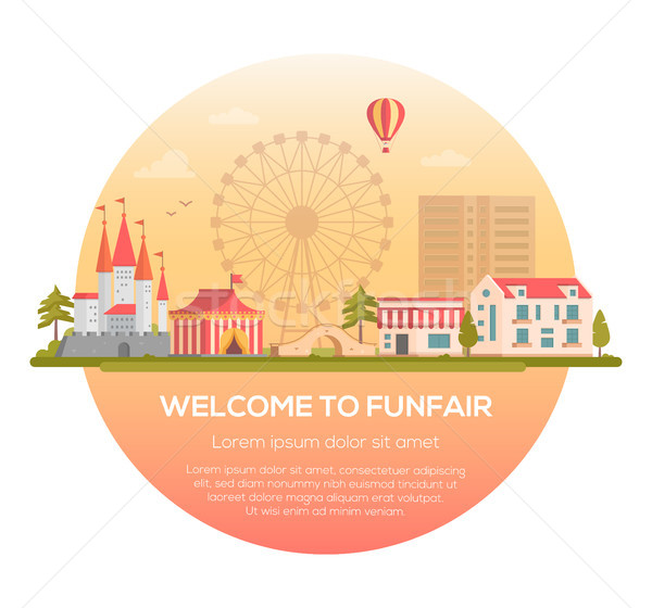 Welcome to funfair - modern vector illustration Stock photo © Decorwithme