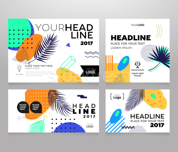 Headline banner - modern vector set of abstract images Stock photo © Decorwithme