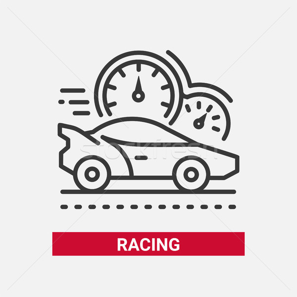 Racing game - line design single isolated icon Stock photo © Decorwithme