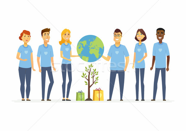 Happy eco volunteers - cartoon people characters isolated illustration Stock photo © Decorwithme
