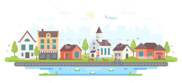 Calm city life - modern flat design style vector illustration Stock photo © Decorwithme