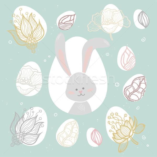 Easter bunny - modern vector colorful celebration poster Stock photo © Decorwithme