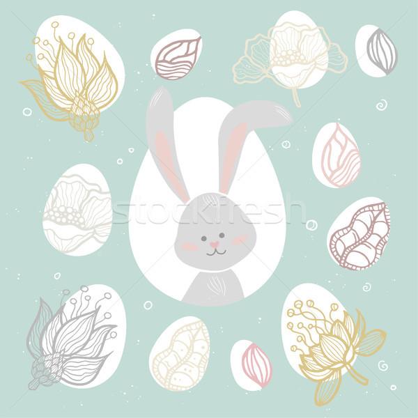 Easter bunny modern vektör renkli kutlama poster Stok fotoğraf © Decorwithme