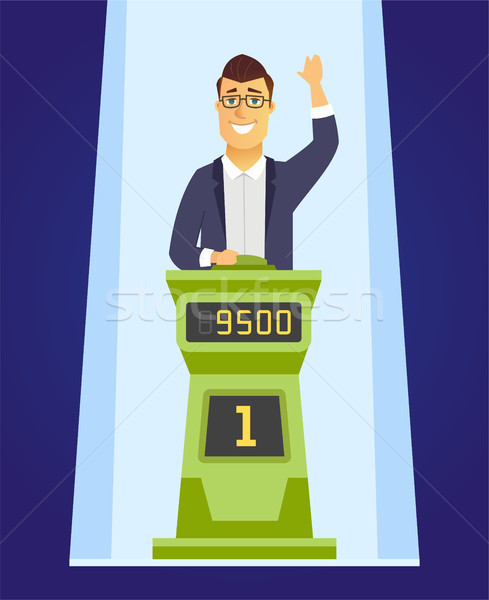 Game show player - cartoon people character illustration Stock photo © Decorwithme
