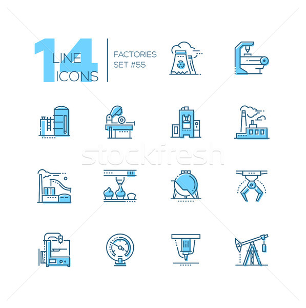 Factories - modern thin line design icons set Stock photo © Decorwithme