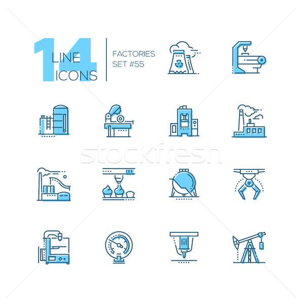 Fabrieken moderne dun lijn ontwerp Stockfoto © Decorwithme