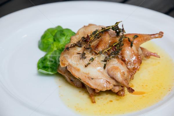 куриные мяса пластина курица-гриль белый обеда Сток-фото © DedMorozz