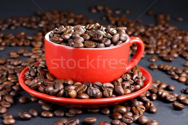 Cup piattino chicchi di caffè completo caffè piatto Foto d'archivio © DedMorozz