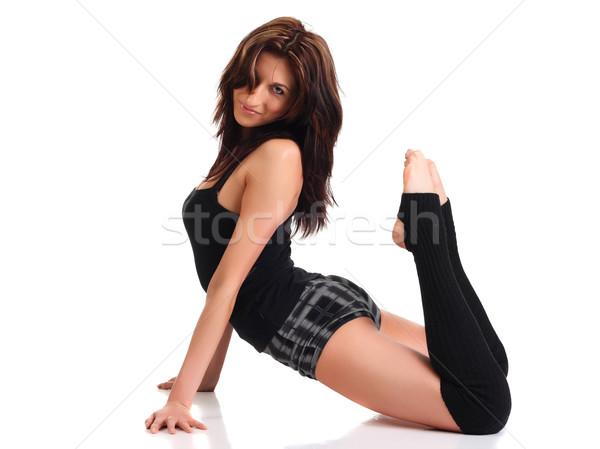 Dziewczyna aerobik wykonywania biały kobiet sportowe Zdjęcia stock © DedMorozz