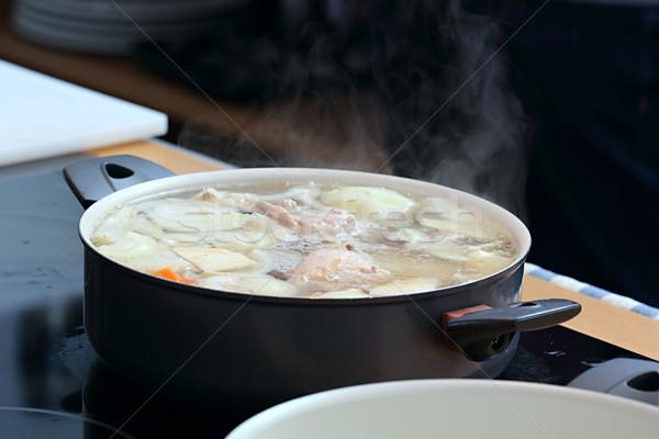 Soup in the saucepan Stock photo © DedMorozz