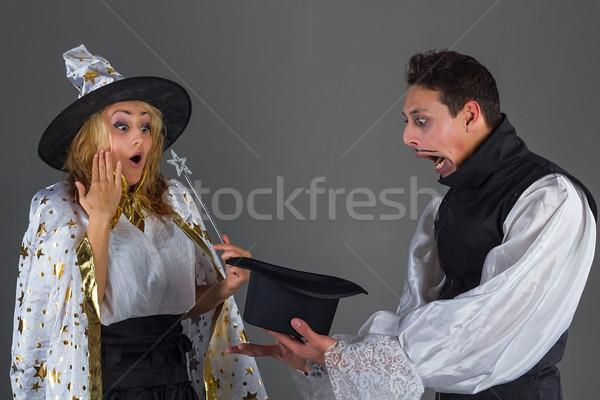маг человека Hat удивление фея девушки Сток-фото © DedMorozz