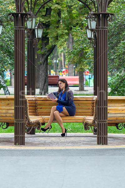 Girl reading book in the park Stock photo © DedMorozz