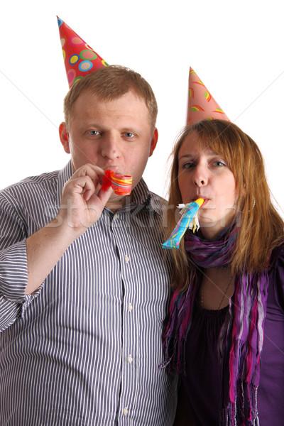 Couple with horns Stock photo © DedMorozz