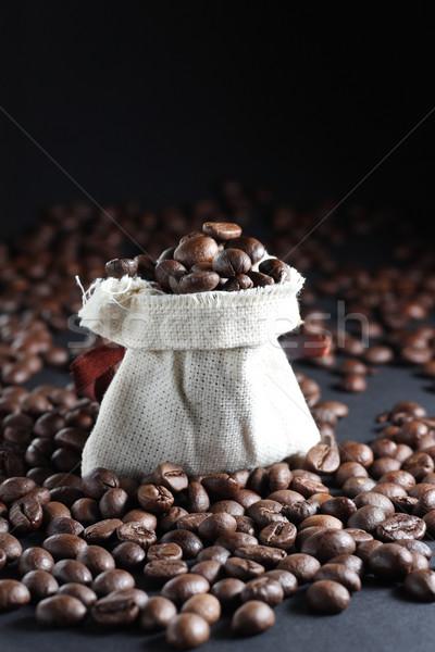 кофе мешок бобов вокруг кафе черный Сток-фото © DedMorozz