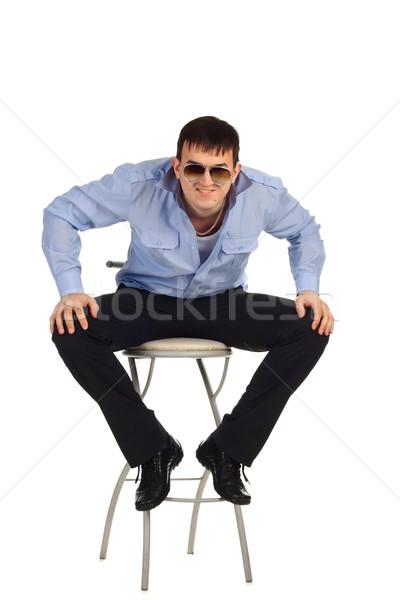 парень сидят Председатель смешные изолированный белый Сток-фото © DedMorozz