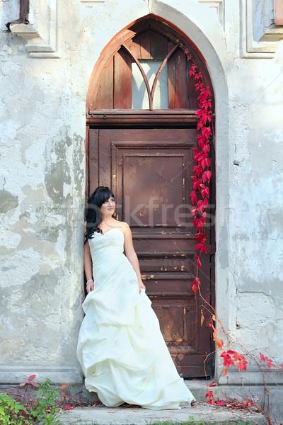 подвенечное платье молодые красивая девушка двери девушки Сток-фото © DedMorozz
