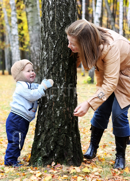 Mother and son play hide-and-seek Stock photo © DedMorozz