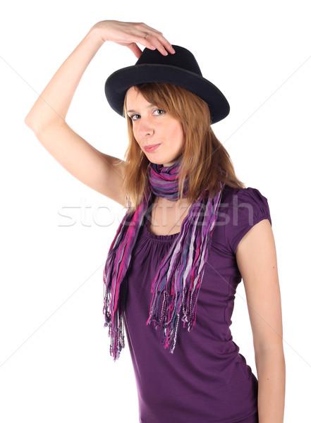 девушки Hat изолированный белый лице красоту Сток-фото © DedMorozz