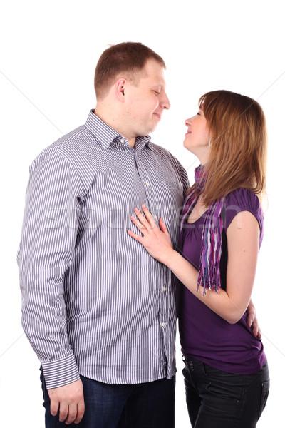пару молодые изолированный белый улыбка лице Сток-фото © DedMorozz