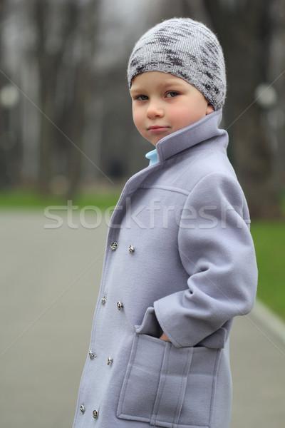 портрет мальчика мало парка улыбка лице Сток-фото © DedMorozz