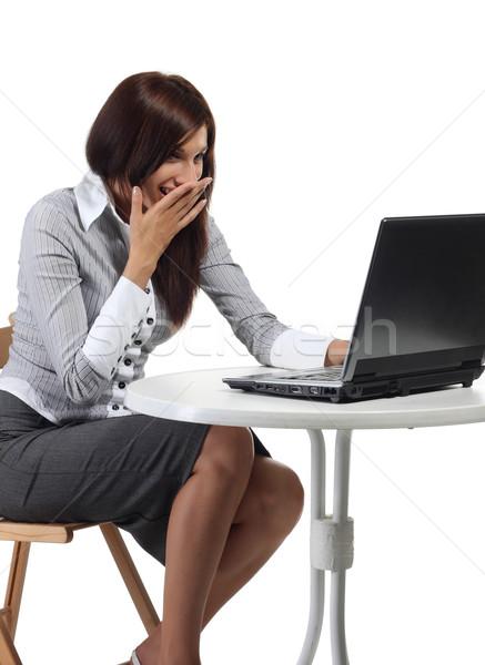 Happy women sitting with computer Stock photo © DedMorozz