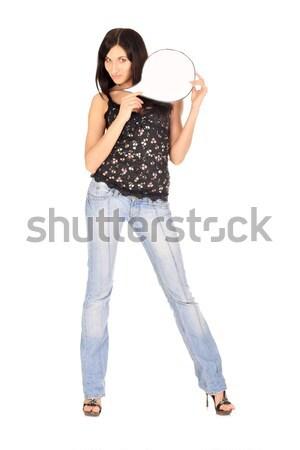 пустую карту молодые красивая женщина белый карт Сток-фото © DedMorozz