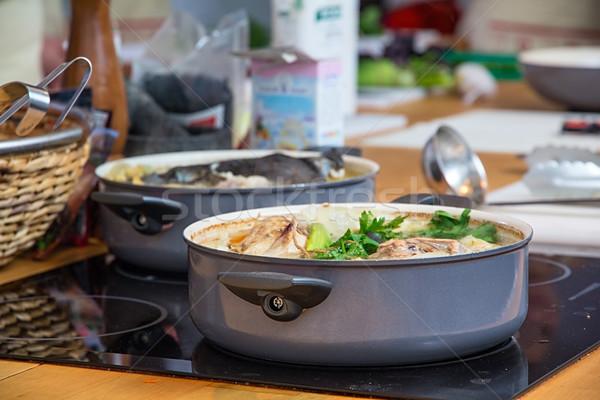 суп кастрюля мяса овощей продовольствие ресторан Сток-фото © DedMorozz
