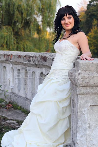 девушки подвенечное платье парка пейзаж саду красоту Сток-фото © DedMorozz